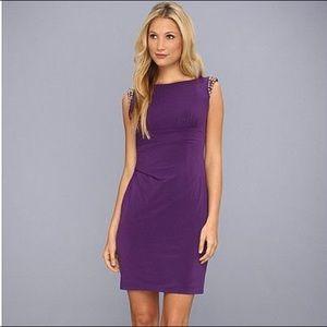 Vince Camuto Spiked Shoulder Purple Sheath Dress